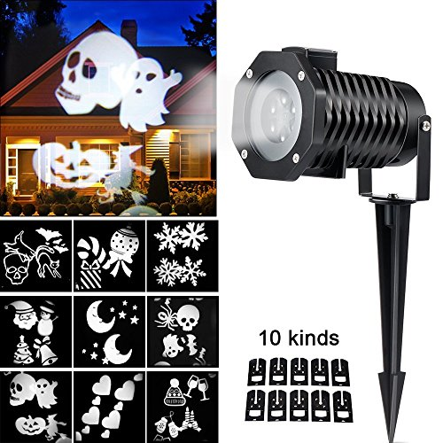 Christmas Light Projector, Ucharge Rotating Snowflake Spotlight, 10slide White Landscape Led Projector Light Show Party, Holiday Decoration - 4 Pack by Ucharge