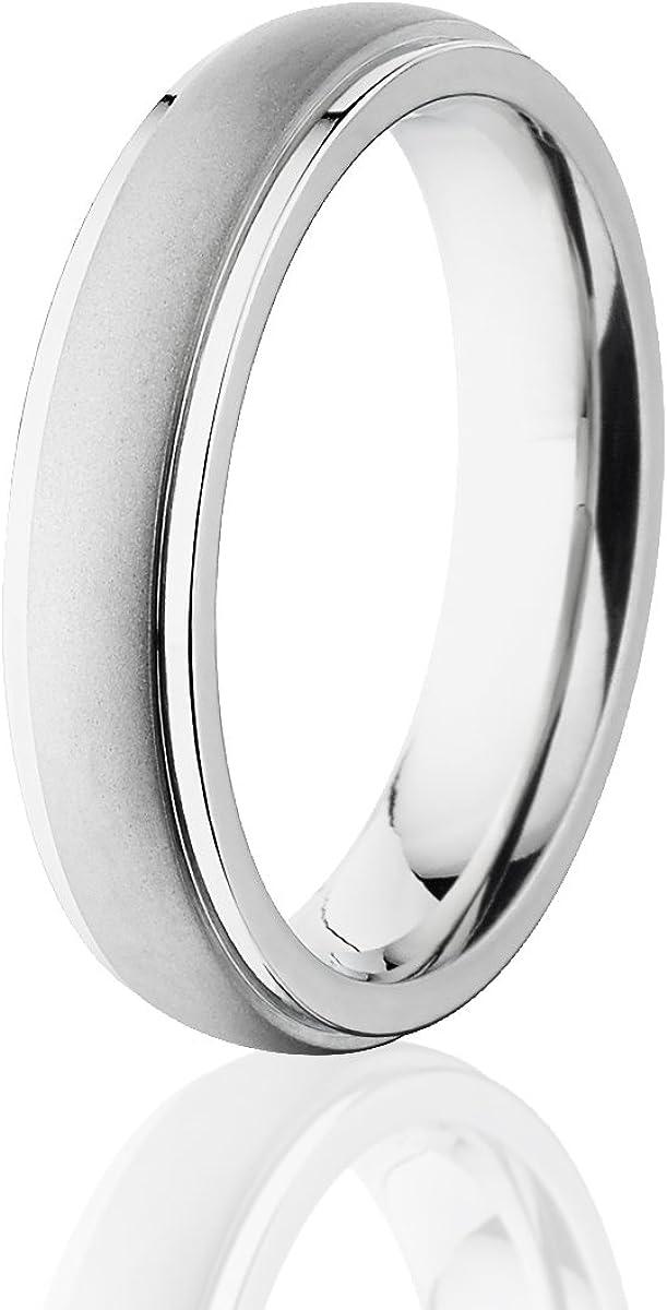 Mens Cobalt Ring Sandblast Finish Comfort Fit Wedding Band 5mm