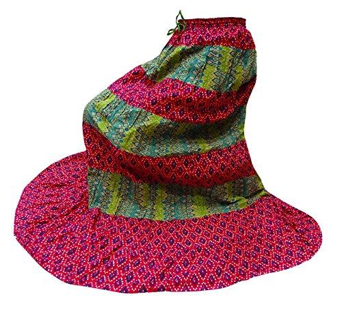 Larga Azul Y Verde Impreso Bollywood Rosa Las De Casual Ropa Algodón Falda Mujeres Verano d7OxZdg