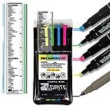 Zebrite Bible Marking Highlighters Kit (Set of 5 + Ruler)