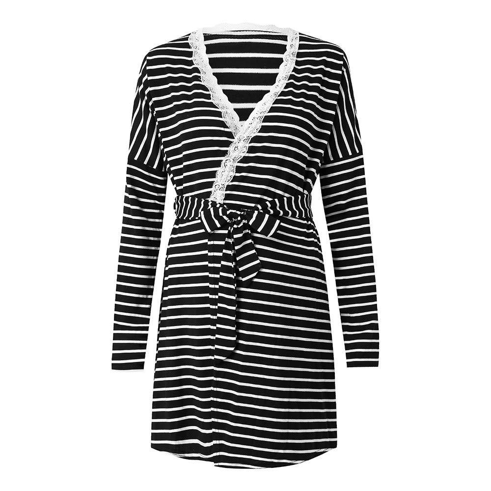 Sixcup  Womens Maternity Gown Robe Dress Nursing Nightdress for Breastfeeding Jersey Striped Dressing Down Nursing Cardigan Nightgown Sleepwear Nightie Labour /& Birth Long Sleeve