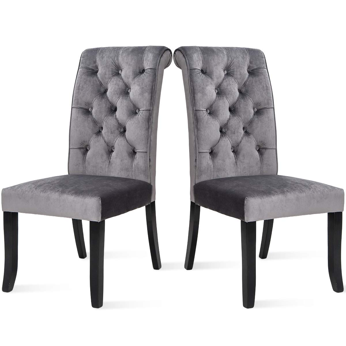 Set of 2 Fabric Dining Chair, Tufted Armless Upholstered Accent Chair with Solid Wood Legs Grey