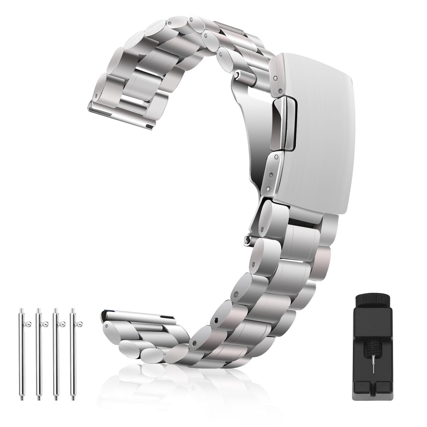 Vetoo 304 Stainless Steel 18mm Watch Bands for Moto 360 2nd Gen 46mm,Pebble Time,Time Steel,Classic,ASUS ZenWatch WI500Q,WI501Q,Samsung Gear 2 R380,Neo R381,Live R382,LG G Watch W104,Urbane, RoseGold
