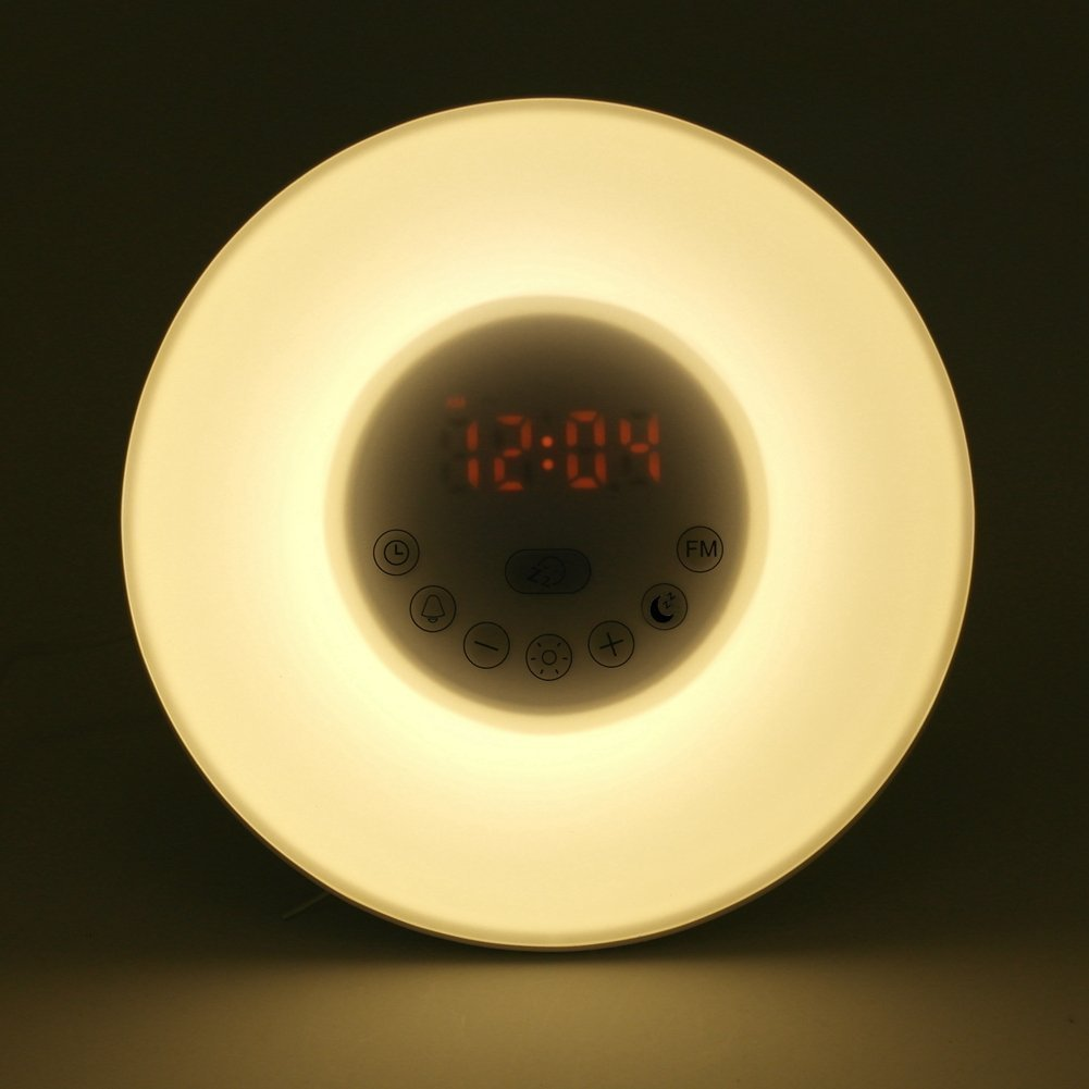 Wake-Up Light, Amteker Sunrise Simulation Alarm Clock with FM Radio Nature Sounds, 7 Colors Atmosphere Lamp,10 Brightness Bedside Lamp - Touch Control night light for Girl Lady kid Baby Bedroom