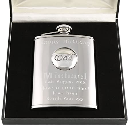 70th Birthday Gift Stainless Steel Engraved Hip Flask With Pewter Dad Feature In