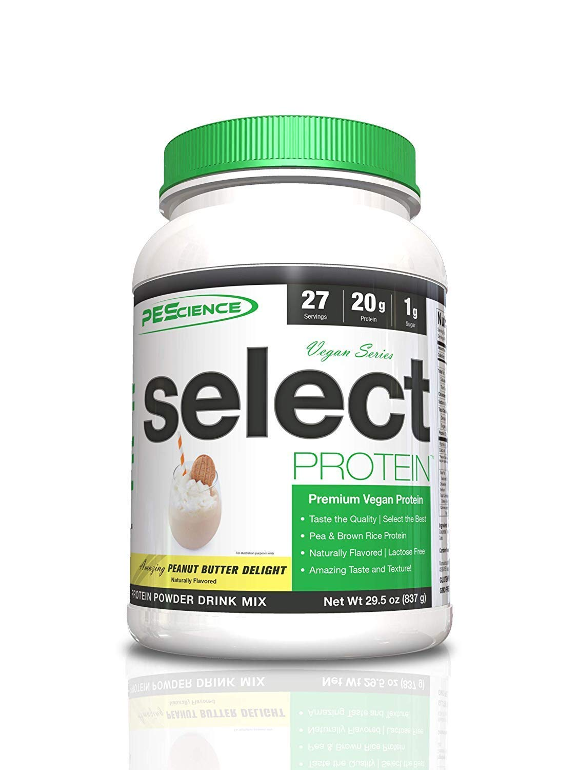 PEScience Select Vegan Plant Based Protein Powder, Peanut Butter, 27 Serving, Pea and Brown Rice Blend