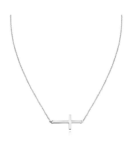 4942afa79a2de Sofia milani Mujer Collar de Cruz Horizontal 925 plata 50057  Amazon.es   Joyería