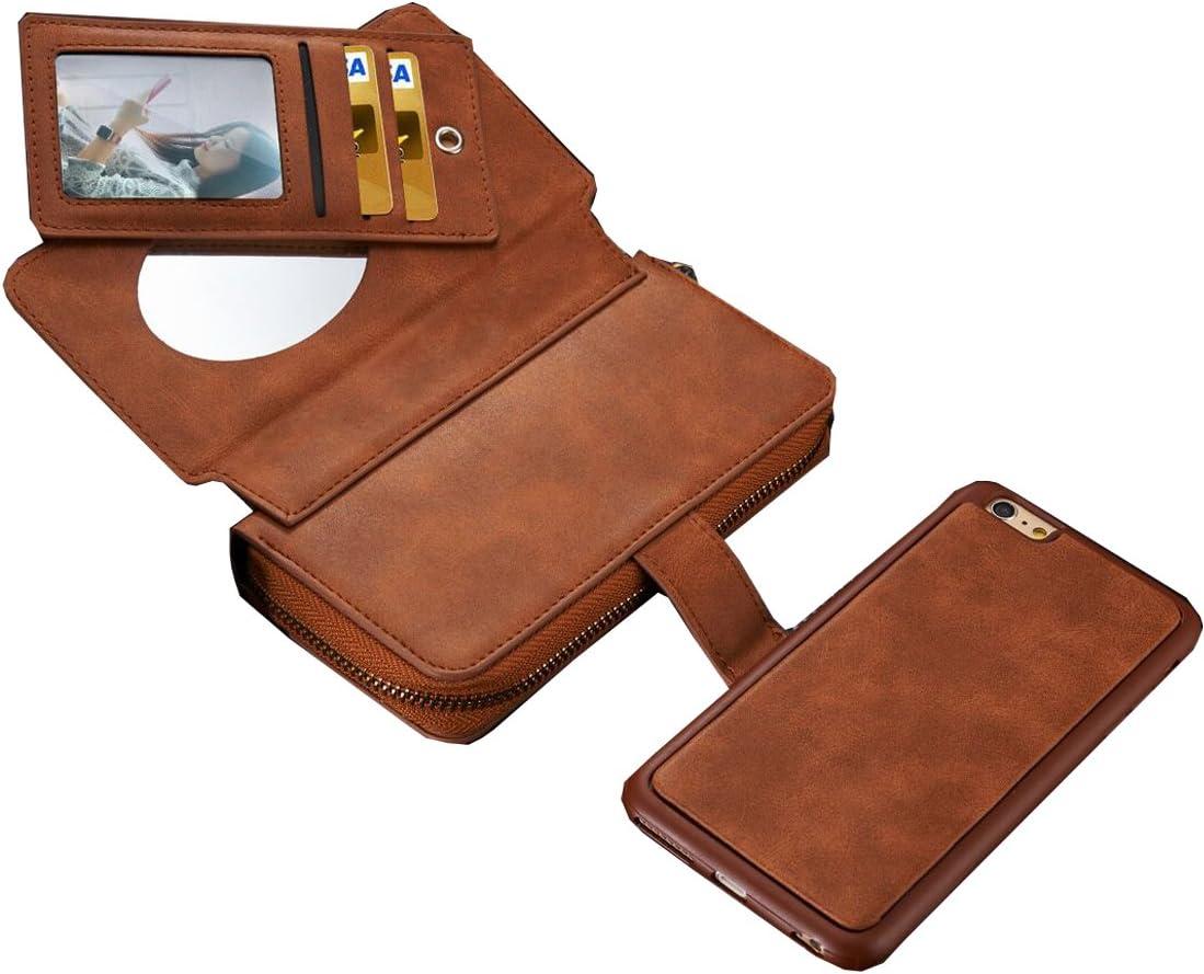 Premium Leather Zipper Wallet Handbag Detachable Removable Magnetic Case with Flip Card Holder Cover for iPhone 8Plus//7Plus//6SPlus Urvoix iPhone 6S Plus//iPhone 7 Plus//iPhone 8 Plus Case 5.5