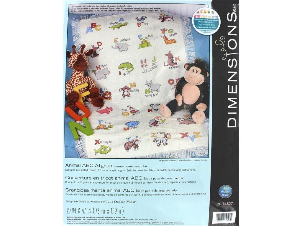 Dimensions Counted Cross Stitch Kit Wild Animal ABC Afghan Throw Blanket Baby Gift 29 x 47