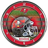 Tampa Bay Buccaneers Round Chrome Wall Clock - Licensed NFL Football Merchandise