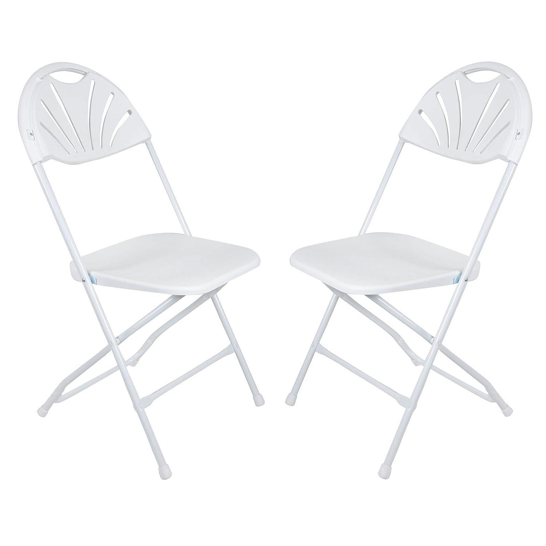 Azuma Set Of 2 White Folding Sunrise Chairs Extra Seating For Christmas Xmas Dinner