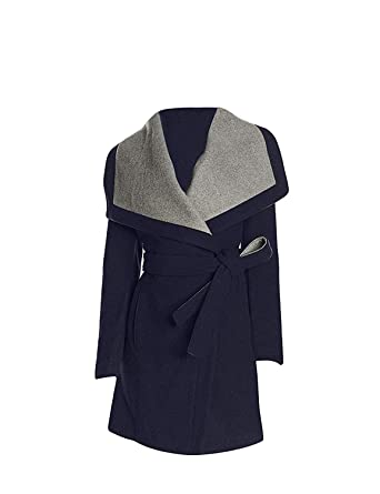 9aaaa5ae4d Amazon.com  BCBGeneration Women s Navy Belted Wrap Coat (S)  Clothing