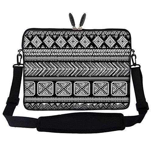 Black Neoprene Skin Case (Meffort Inc 17 17.3 inch Neoprene Laptop Sleeve Bag Carrying Case with Hidden Handle and Adjustable Shoulder Strap - Black Gary Pattern A)