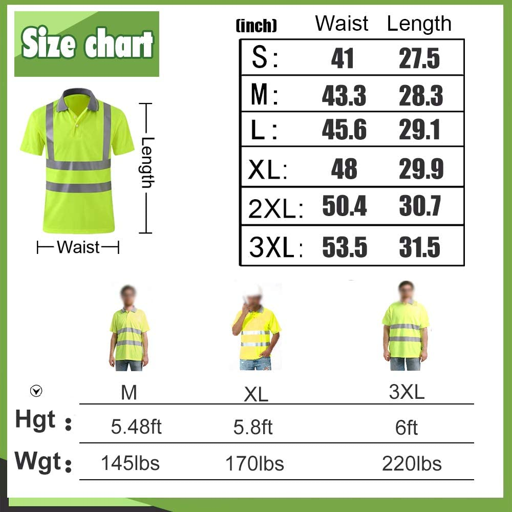 High Visibility Safety Polo Shirt with Reflective Strips Custom Your Logo Hi Vis Short Sleeve Shirt