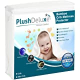 PlushDeluxe Crib Mattress Protector 100% Waterproof, Hypoallergenic, Without Vinyl – Bamboo Quilted Ultra Soft White…