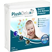 Mini Crib Mattress Protector 100% Waterproof, Hypoallergenic, Vinyl Free – Bamboo Quilted Ultra Soft White Terry Fitted Sheet Style by PlushDeluxe