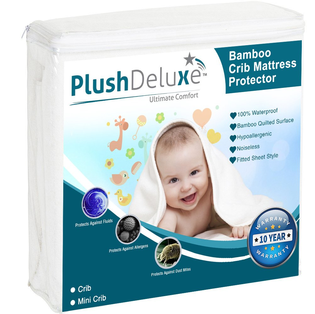 Crib Mattress Protector 100% Waterproof, Hypoallergenic, Vinyl Free – Bamboo Quilted Ultra Soft White Terry Fitted Sheet Style By PlushDeluxe by PlushDeluxe