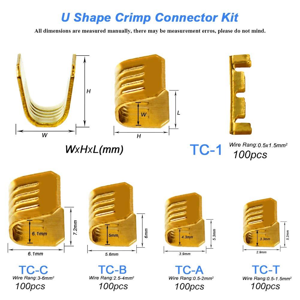 KeeYees Juego de 240 Abrir Barril Cable Crimp Conector Anillo de Cobre Lug Kit Sin Aislados Conector cable de engarce