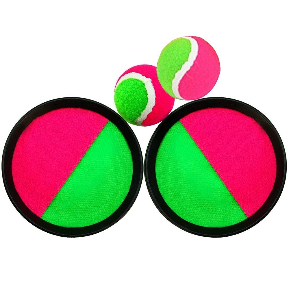 Paddle Catch Ball and Toss Game Set Velcro Disc Toss and Catch Paddle Sport Game(2 Paddles and 2 Balls) by BoBofly