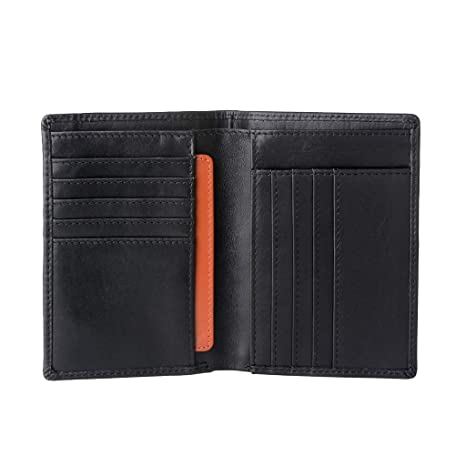 302f9715e3 Nuvola Pelle Portafoglio uomo in Vera Pelle formato Verticale Sottile Porta  Tessere Carte Documenti Banconote Nero