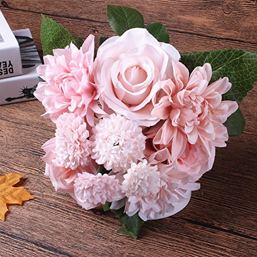2 bouquet artificial flower 3 head rose 3 head dahlia pinnata cav2 yellow flower fake flower silk flower faxu flower for home wedding decor - Silk Arrangements For Home Decor 2