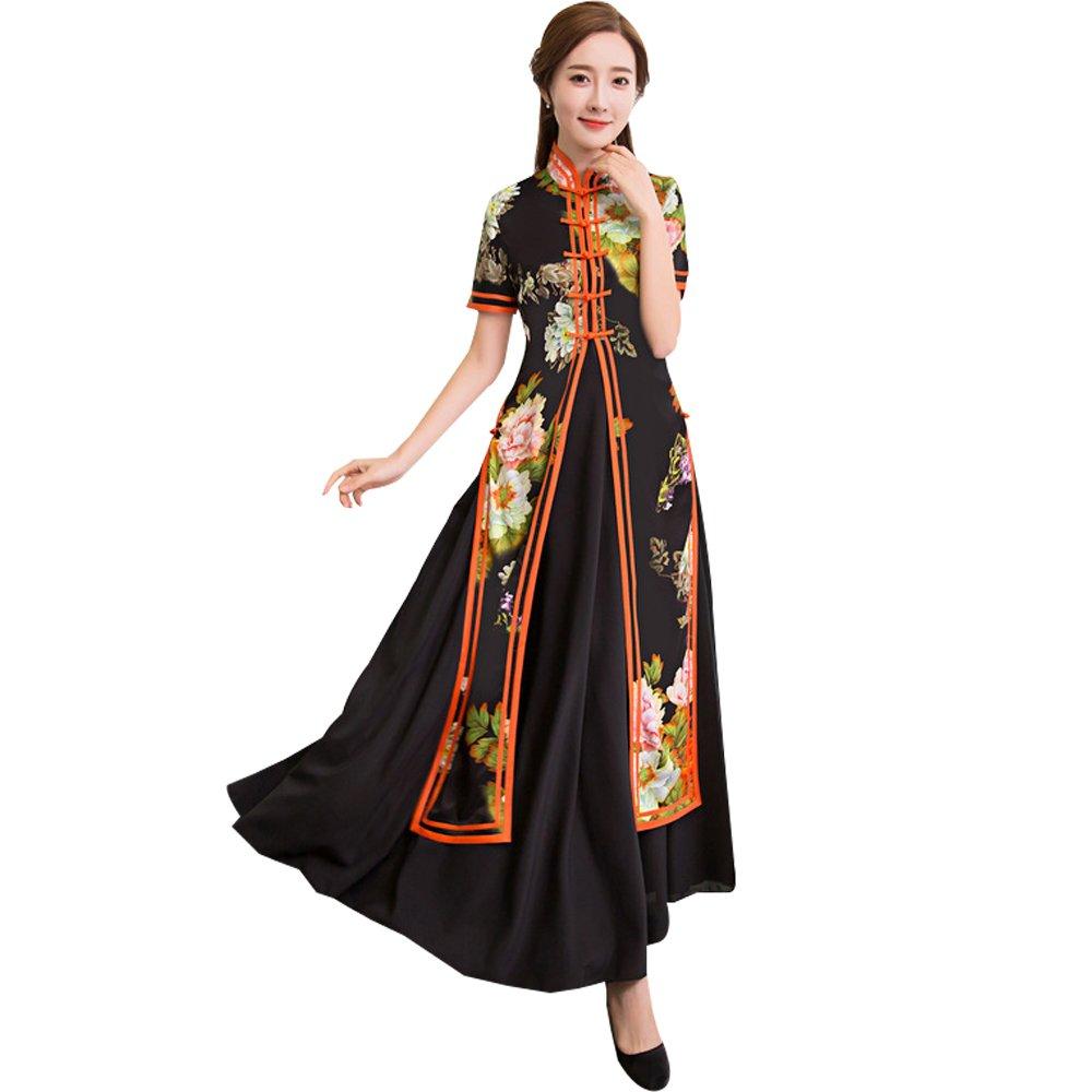 [福丸] チャイナドレス ロング アオザイ チャイナ服 ワンピース シフォン 結婚式 2点セット レディース B078N6GR1G S|オレンジ オレンジ S