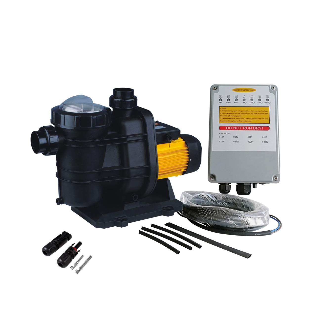 PWS Solar Powered Swimming Pool Pump, 72VDC, 1.6HP, 62ft, 136GPM, Solar Water Pump with MPPT Controller, Suitable for Salt Water, JP31-19/1200