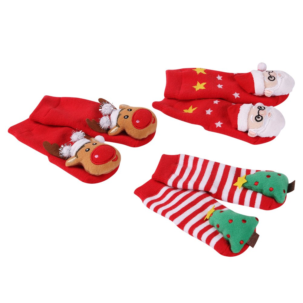 Toddler Christmas Socks, HAPYCEO Baby Boy Girl Thickened Anti-skid Xmas Gift Socks HAPYCEO Non-slip Infant Toddler Adorable Reindeer First Christmas Gift Holiday Socks for Baby Girls or Baby Boys 1 Pair