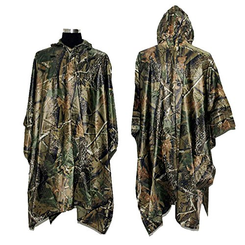 Rain Jacket Camo - Rain Poncho, LOOGU Waterproof Camouflage Rain Coat Outdoor Camo Shelter Ground Sheet