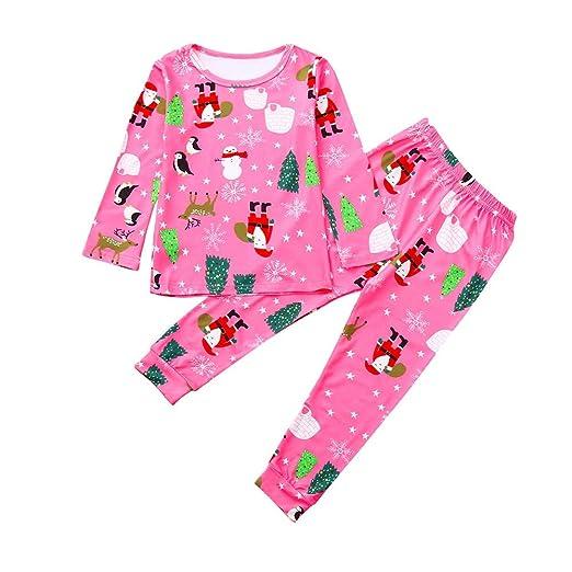 girls christmas pajamaskehome kid toddler girl cotton pjs set 2pc holiday sleeper pink 12 - Girl Christmas Pajamas