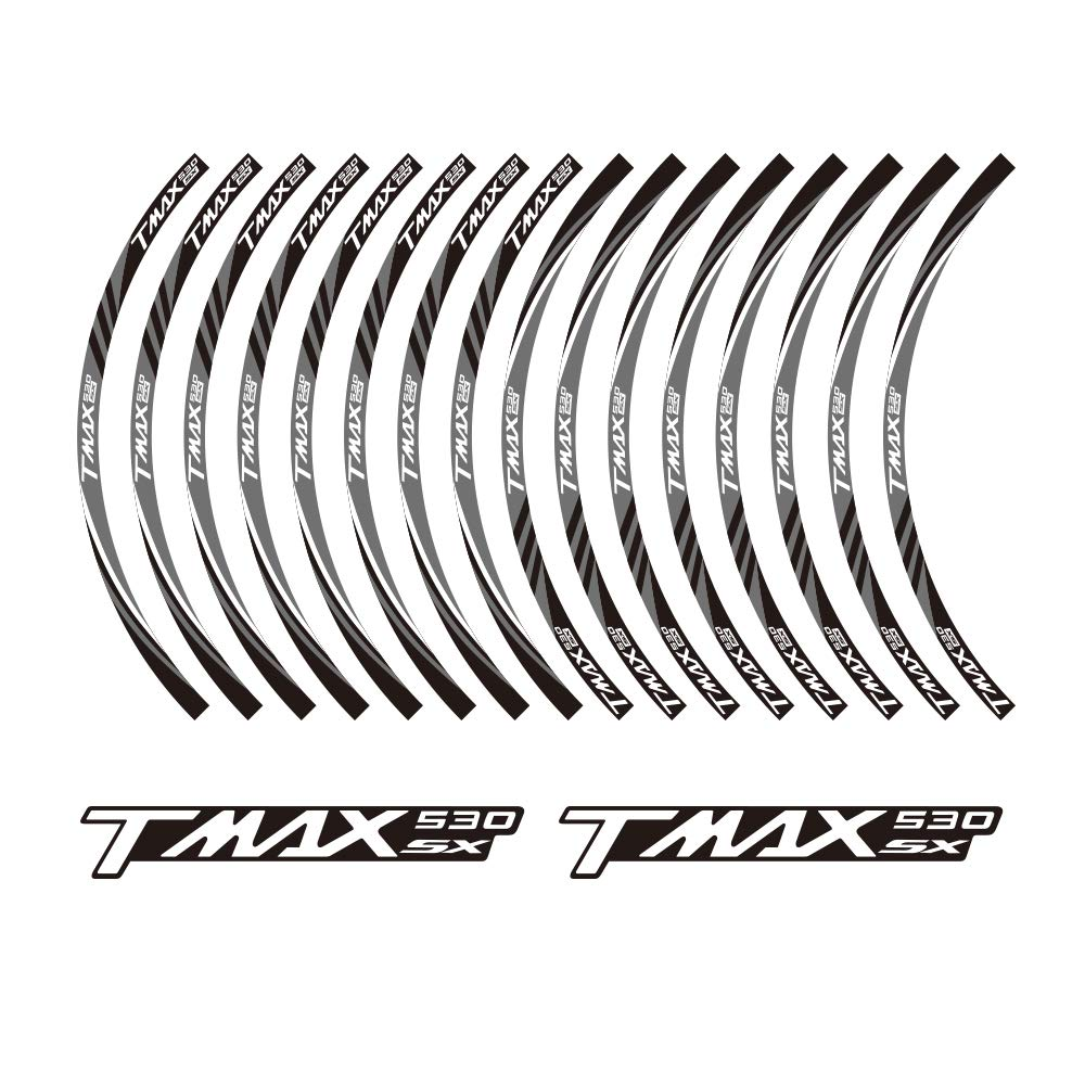 02 PRO-KODASKIN TMAX 530SX motorcycle wheel decals 12rim stickers set for TMAX 530 SX