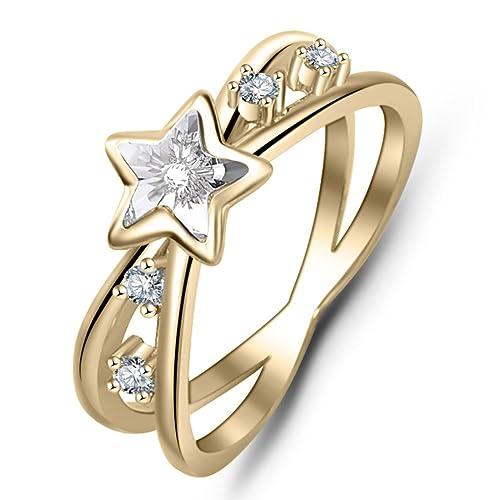 3a2e8e3c4 YAN & LEI Sterling Silver Sparkling Swarovski Crystal Star Criss Cross X  Rings Color Golden Size