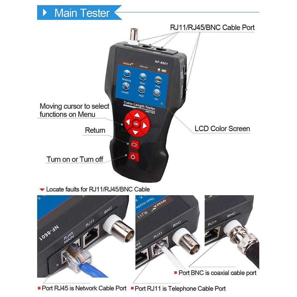 Noyafa NF-8601W RJ45 LAN Network Cable Tester for RJ45, RJ11, BNC, PING/POE 8 Identifier Telephone Wire Tracer - - Amazon.com