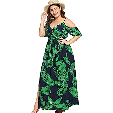 9d5d3fcfece Women s Plus Size Cold Shoulder Floral Slit Hem Tropical Summer Maxi Dress  Empire Waist High Low