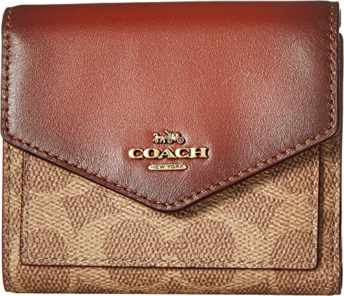 Wallet in Color Block Coated Canvas Signature B4/Tan Rust One Size (Coach Handbags Wallets)