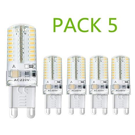 Bombilla LED Casquillo G9 5W Smd3014 64Led 270lm (Pack 5) 3000k Luz Cálida Lámpara