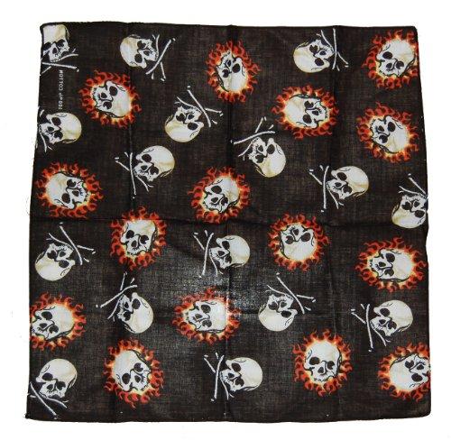 Bandana de motard rocker &flaming skulls