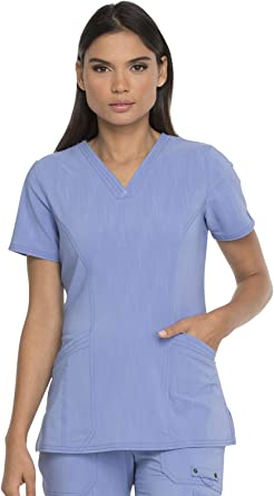 Dickies Advance Solid Tonal Twist Women's DK755 V-Neck Top with Patch Pockets