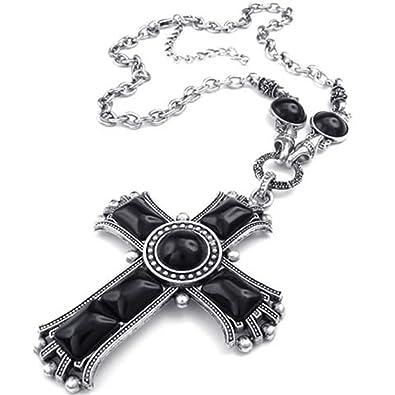 KONOV Schmuck Herren Damen Halskette, groß Retro Keltischer Kreuz Legierung  Anhänger mit Kette, Schwarz a3bca4a296