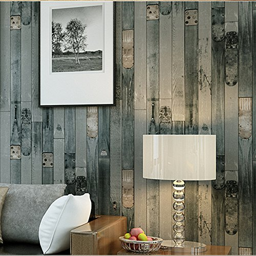 Blooming Wall: Wallpaper Faux Vintage Wood Panel Wood Plank Wall Paper Roll,20.8 In*32.8 Ft=57 Sq Ft,looks Real Up!630804 Cyan