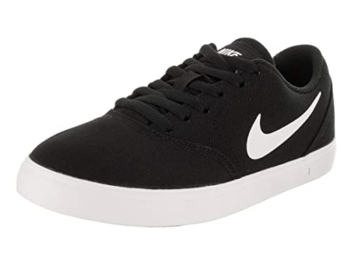 Amazon.com | Nike Boys SB Check Canvas Skateboarding Shoes (5 Big Kid M, Black/White) | Sneakers