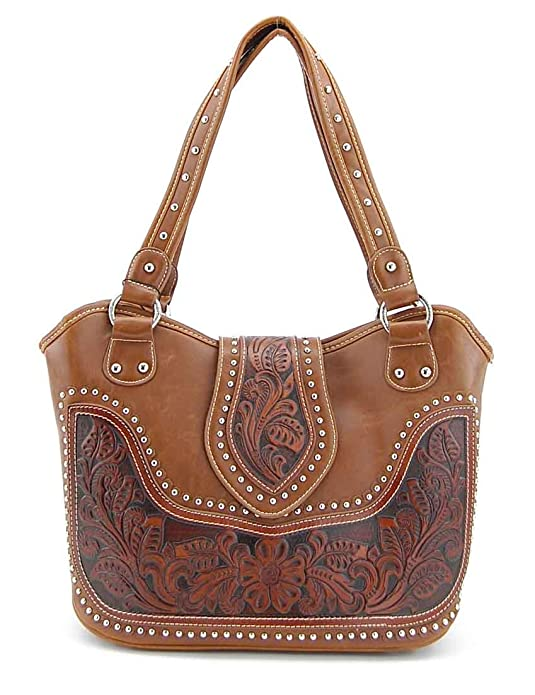 Montana West Concealed Carry Purse Tooled Leather Handbag Western Purse Brown