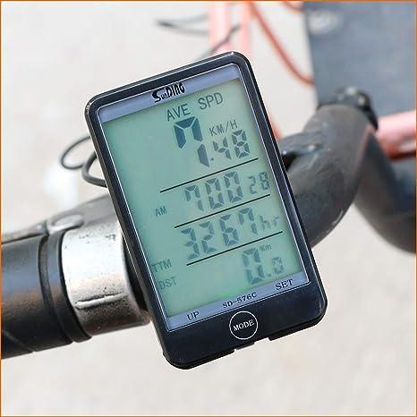 YMYGCC Bicicleta Cuentakilometros Bicicletas inalámbrica del Ordenador Cronómetro velocímetro de la Bici de Ciclo del odómetro del cronómetro Accesorios de luz de Fondo 27 (Color : Black): Amazon.es: Deportes y aire libre