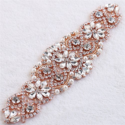 (7.4 Inches Rose gold Beaded Applique Rhinestones Crystal Applique Pearls Embellishment Bridal accessoried for Wedding dress gown)