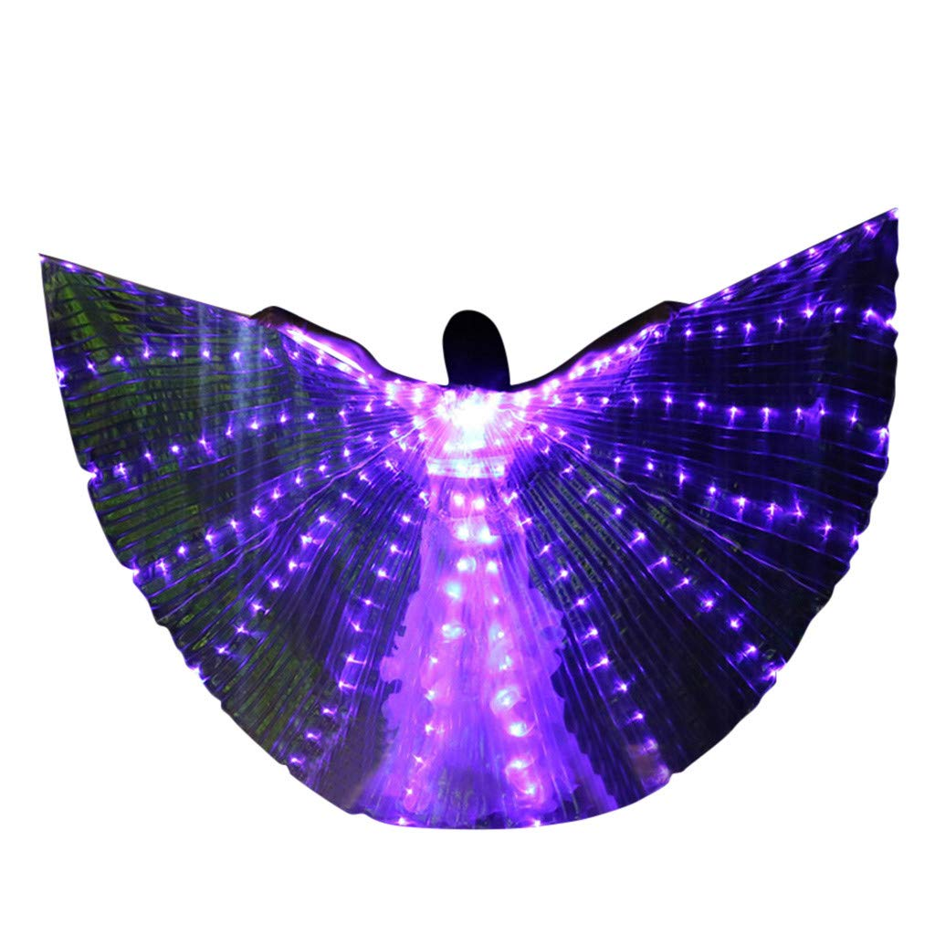 FEDULK Womens LED Wings Belly Dance Performance Costumes Colorful Butterflies Wings with Telescopic Stick(I)