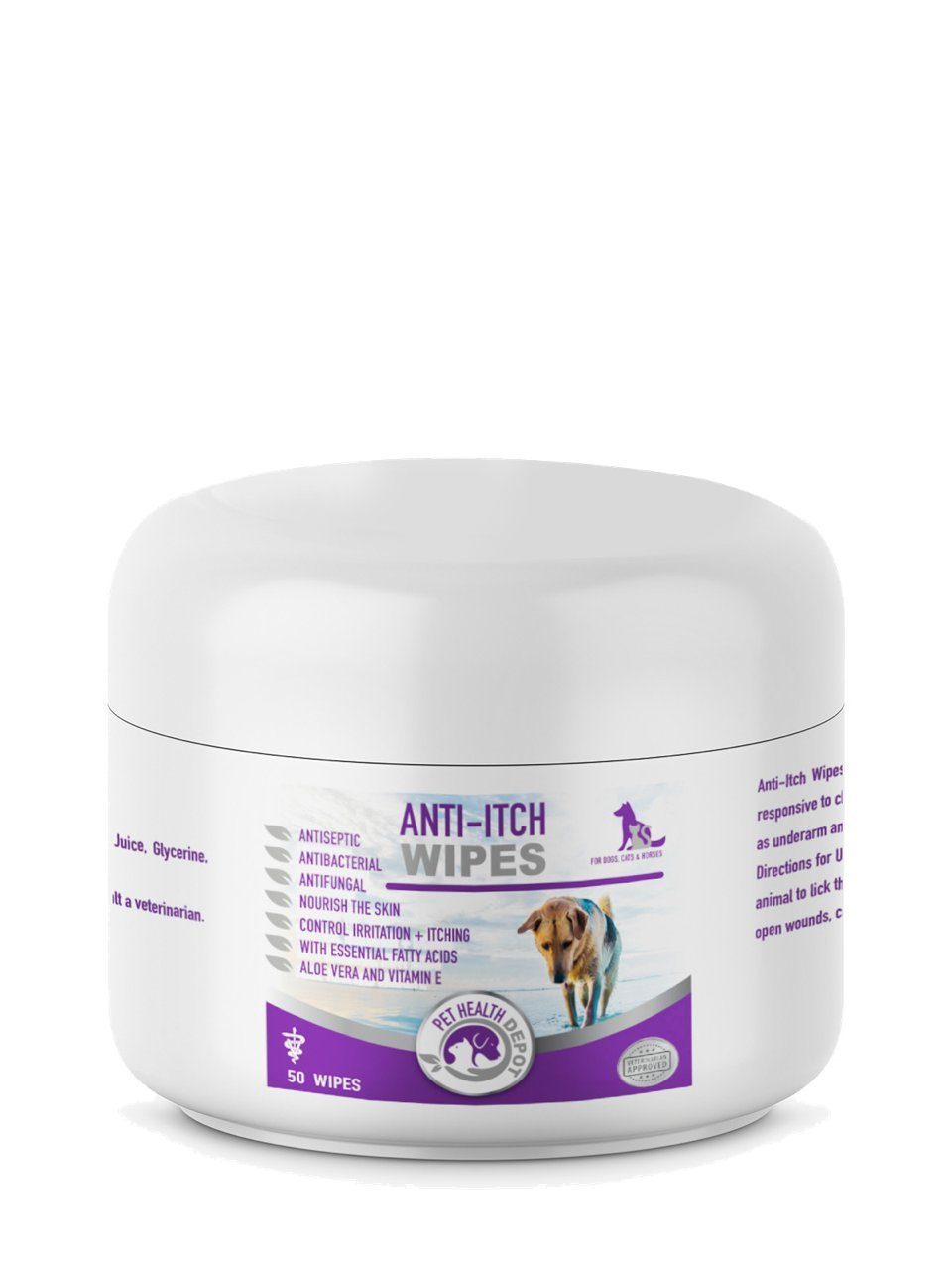Pet Health Depot Anti-Itch Wipes with Ketoconazole for Dogs and Cats - 50ct