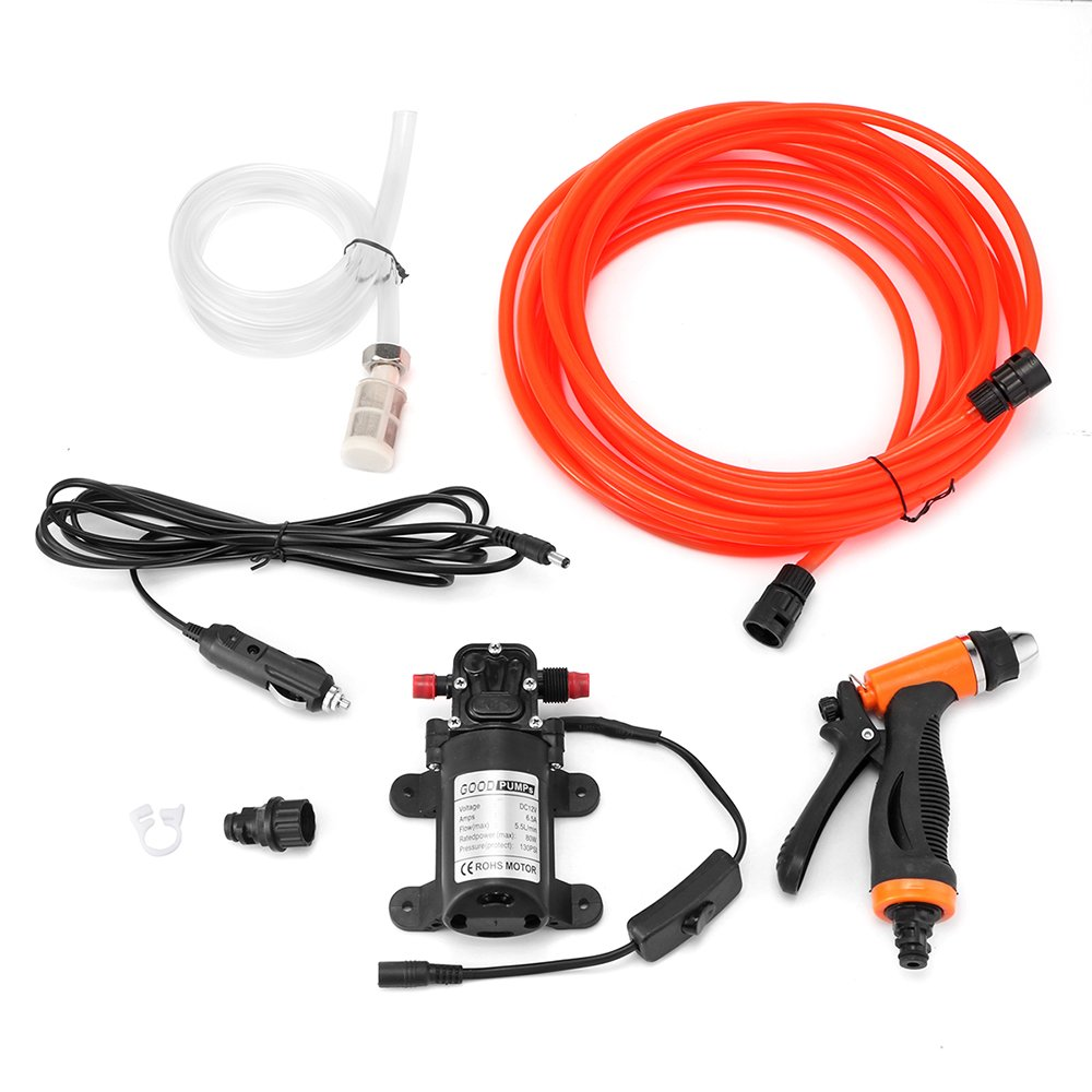 Houkiper Portable Car Washer Pump Set Pressure Cleaner Gun DC 12V 80W 130PSI High Pressure Washing Power Pump System Kit for Auto, Marine, Pet, Window, Gardening, Air Conditioner Cleaning