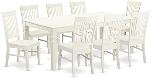 East West Furniture 9 Piece Table Set with One Logan Dining Table and 8 Dining Room Chairs in Linen White Finish