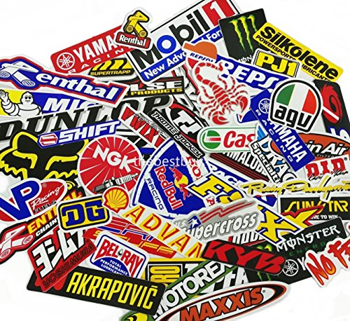 60 Pcs Small Size Mixed Random Motocross Motorcycle Car Racing Decal Stickers