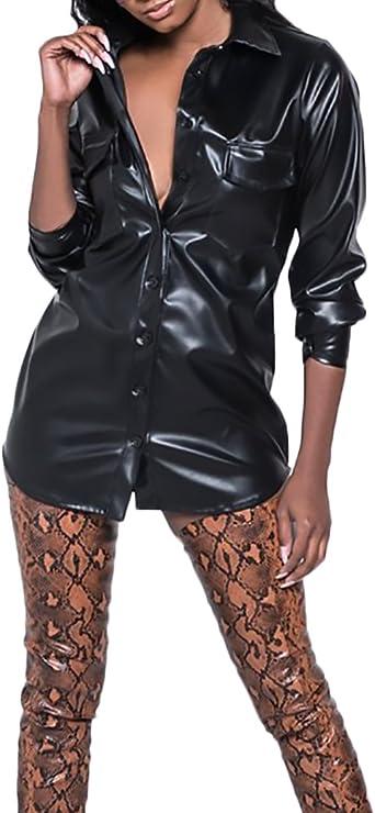 Mujer Camisas De Vestir Cuero De PU Manga Larga Cuello Solapa Un Solo Pecho Slim Fit Dulce Lindo Chic Hippie Moda Punk Camisa Camiseta Blusas Tops: Amazon.es: Ropa y accesorios